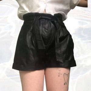 High waisted faux leather shorts by sportsgirl